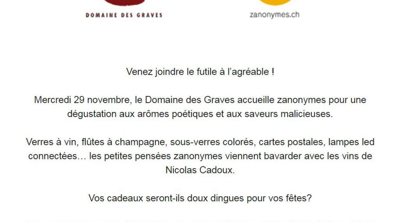 Domaine des Graves Zanonymes – expo et vente exceptionnelle