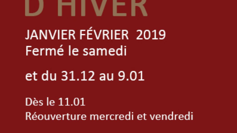 Horaires d'hiver 2019